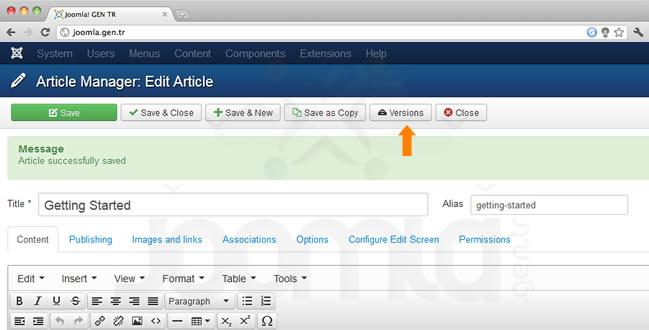 joomla icerik versiyonlari 2 - Joomla Content Versions - İçerik Versiyonları